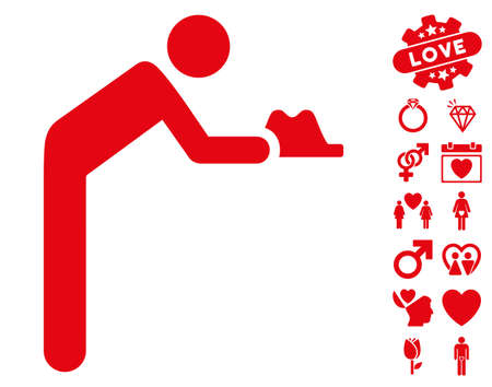 Servant pictograph with bonus dating design elements. Vector illustration style is flat iconic red symbols on white background.