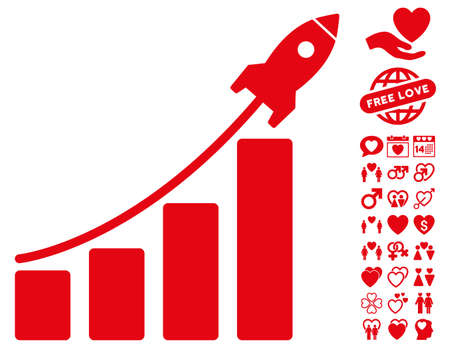 dating strategy: Startup Rocket Bar Chart icon with bonus amour pictures. Vector illustration style is flat iconic red symbols on white background. Illustration