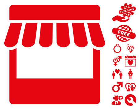 office romance: Store pictograph with bonus amour graphic icons. Vector illustration style is flat iconic red symbols on white background.