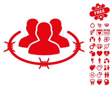 barbed: Strict Management pictograph with bonus valentine images. Vector illustration style is flat iconic red symbols on white background. Illustration
