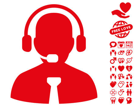 Support Chat icon with bonus romantic design elements. Vector illustration style is flat iconic red symbols on white background.