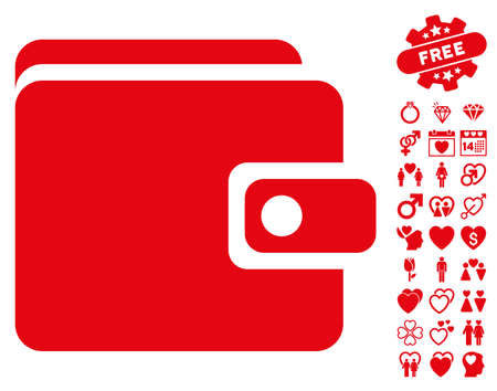 Wallet icon with bonus lovely images. Vector illustration style is flat iconic red symbols on white background. Illustration