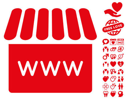 Webstore icon with bonus amour pictograph collection. Vector illustration style is flat iconic red symbols on white background. Illustration