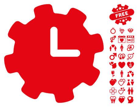 Time Settings pictograph with bonus decorative icon set. Vector illustration style is flat iconic red symbols on white background. Illustration