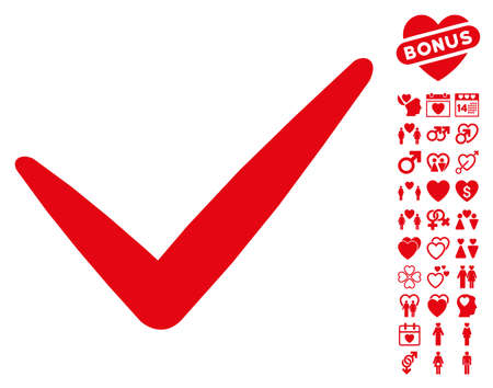valid: Valid pictograph with bonus valentine icon set. Vector illustration style is flat iconic red symbols on white background.