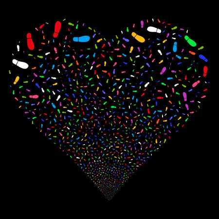 Boot Footprint fireworks with heart shape. Vector illustration style is flat bright multicolored iconic symbols on a black background. Object heart combined from confetti pictographs.
