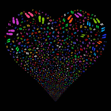 footmark: Boot Footprints fireworks with heart shape. Vector illustration style is flat bright multicolored iconic symbols on a black background. Object love heart done from confetti pictograms.