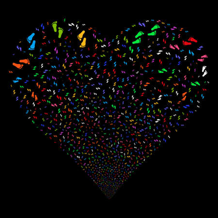 Human Steps fireworks with heart shape. Vector illustration style is flat bright multicolored iconic symbols on a black background. Object valentine heart created from scattered design elements.