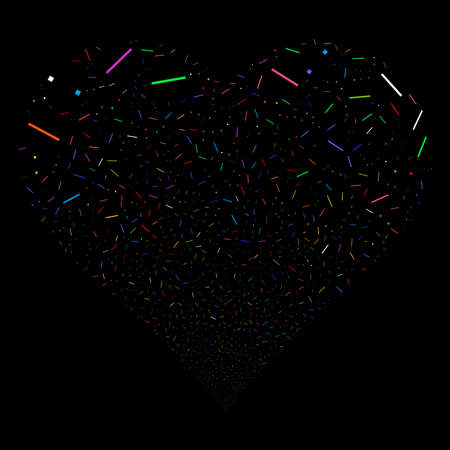 Lines And Dots fireworks with heart shape. Vector illustration style is flat bright multicolored iconic symbols on a black background. Object stream made from confetti icons.