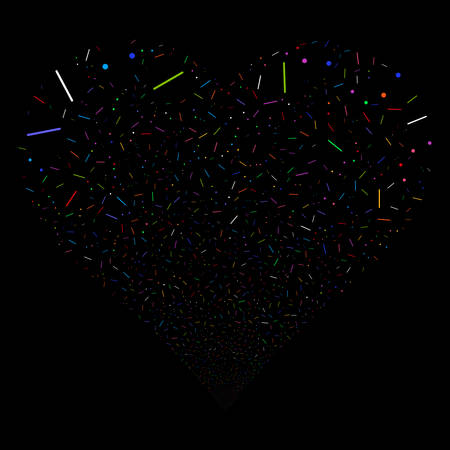 Lines And Dots fireworks with heart shape. Vector illustration style is flat bright multicolored iconic symbols on a black background. Object heart constructed from confetti icons. Illusztráció
