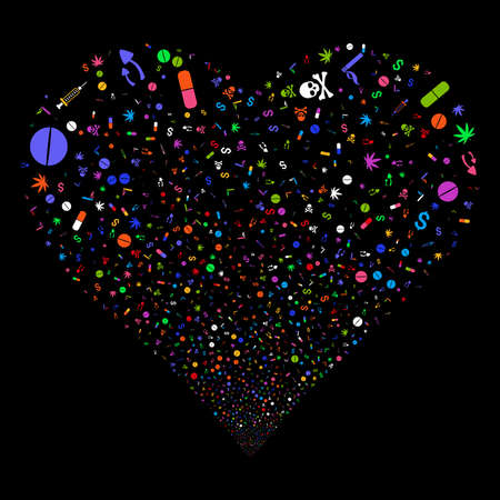 Narcotic Drugs fireworks with heart shape. Vector illustration style is flat bright multicolored iconic symbols on a black background. Object salute done from scattered pictograms. Illustration