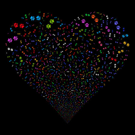 Paw Footprints fireworks with heart shape. Vector illustration style is flat bright multicolored iconic symbols on a black background. Object salute done from confetti pictograms.