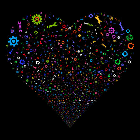 Repair Instruments fireworks with heart shape. Vector illustration style is flat bright multicolored iconic symbols on a black background. Object love heart created from confetti design elements. Illustration