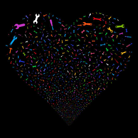 Repair Tools fireworks with heart shape. Vector illustration style is flat bright multicolored iconic symbols on a black background. Object heart made from confetti symbols.