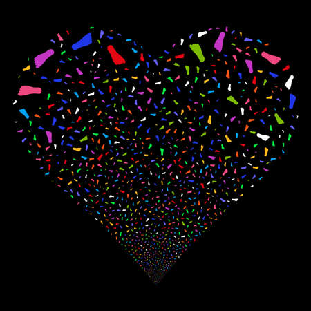 human footprint: Human Footprint fireworks with heart shape. Vector illustration style is flat bright multicolored iconic symbols on a black background. Object valentine heart made from scattered design elements. Illustration