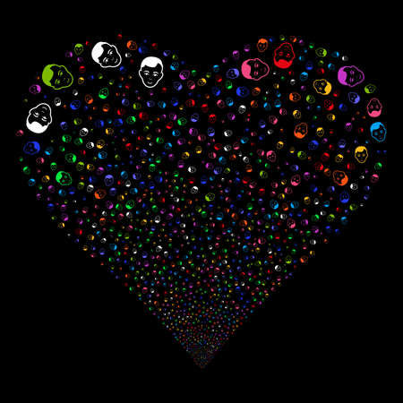 Man Head fireworks with heart shape. Vector illustration style is flat bright multicolored iconic symbols on a black background. Object love heart combined from scattered pictographs. Иллюстрация