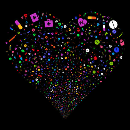 Medical Tools fireworks with heart shape. Vector illustration style is flat bright multicolored iconic symbols on a black background. Object salute combined from confetti pictographs. Illustration