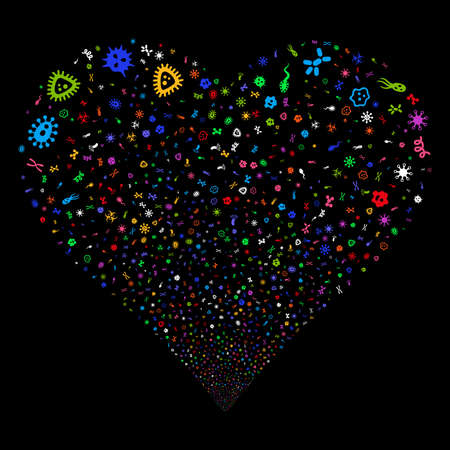 Microbes fireworks with heart shape. Vector illustration style is flat bright multicolored iconic symbols on a black background. Object stream constructed from scattered pictograms.