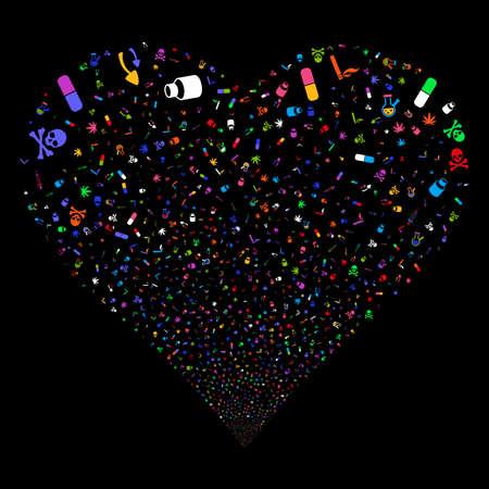 Feux d'artifice de drogues narcotiques avec la forme de coeur. Style d'illustration vectorielle est des symboles emblématiques multicolores lumineux plat sur un fond noir. Flux d'objets construit à partir de symboles aléatoires.