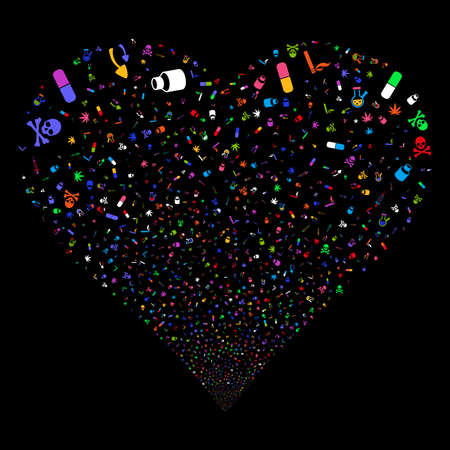 Narcotic Drugs fireworks with heart shape. Vector illustration style is flat bright multicolored iconic symbols on a black background. Object stream constructed from random symbols. Ilustrace