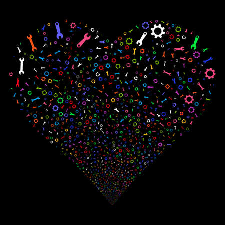 Setup Tools fireworks with heart shape. Vector illustration style is flat bright multicolored iconic symbols on a black background. Object love heart made from confetti pictographs. Illustration