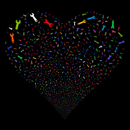 Spanners And Wrenches fireworks with heart shape. Vector illustration style is flat bright multicolored iconic symbols on a black background. Object love heart done from random pictographs. Ilustrace