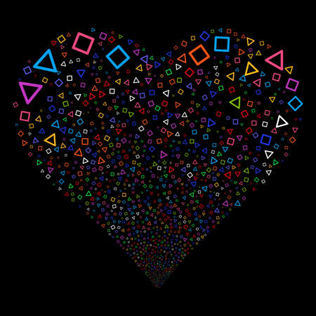 Triangle And Square Frames fireworks with heart shape. Vector illustration style is flat bright multicolored iconic symbols on a black background. Object salute organized from random design elements.