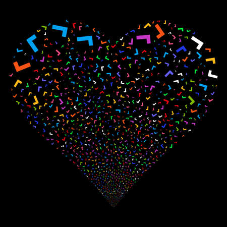Yes fireworks with heart shape. Vector illustration style is flat bright multicolored iconic symbols on a black background. Object valentine heart made from confetti pictographs.