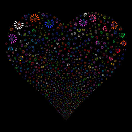Light Bulb fireworks with heart shape. Vector illustration style is flat bright multicolored iconic symbols on a black background. Object love heart combined from scattered design elements.
