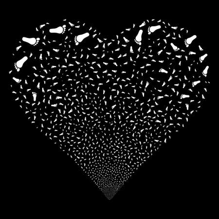 human footprint: Human Footprint fireworks with heart shape. Raster illustration style is flat white iconic symbols on a black background. Object love heart combined from scattered pictograms.