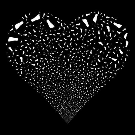 human footprint: Human Footprint fireworks with heart shape. Raster illustration style is flat white iconic symbols on a black background. Object stream combined from scattered design elements. Stock Photo