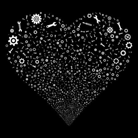Repair Instruments fireworks with heart shape. Raster illustration style is flat white iconic symbols on a black background. Object valentine heart made from confetti icons.
