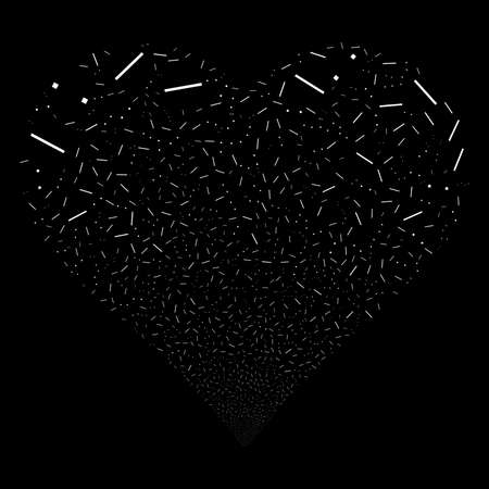 Lines And Dots fireworks with heart shape. Raster illustration style is flat white iconic symbols on a black background. Object stream made from random icons. Stock Photo