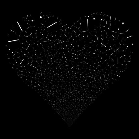 Lines And Dots fireworks with heart shape. Raster illustration style is flat white iconic symbols on a black background. Object salute done from random icons.