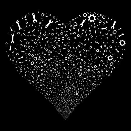 Setup Tools fireworks with heart shape. Raster illustration style is flat white iconic symbols on a black background. Object heart made from random pictographs. Stock Photo