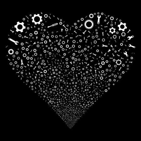 Setup Tools fireworks with heart shape. Raster illustration style is flat white iconic symbols on a black background. Object love heart combined from scattered symbols.