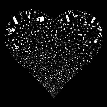 Narcotic Drugs fireworks with heart shape. Raster illustration style is flat white iconic symbols on a black background. Object heart done from confetti icons.