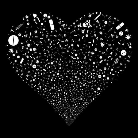 Narcotic Drugs fireworks with heart shape. Raster illustration style is flat white iconic symbols on a black background. Object heart made from scattered pictograms. Stock Photo