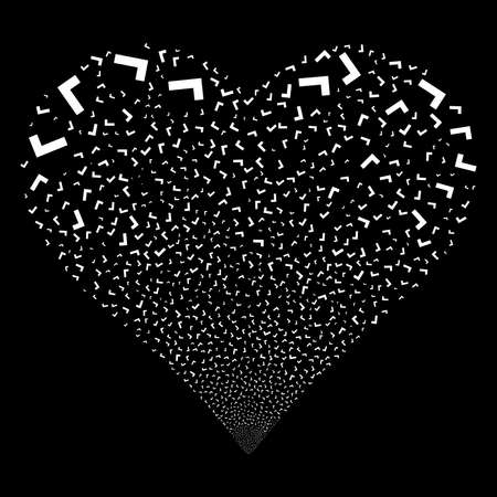 Yes fireworks with heart shape. Raster illustration style is flat white iconic symbols on a black background. Object love heart combined from scattered design elements. Stock Photo