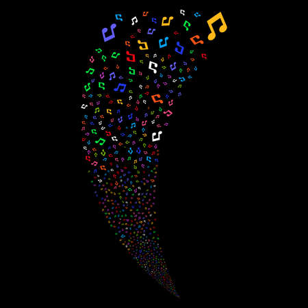 Music Notes random fireworks stream. Vector illustration style is flat bright multicolored iconic symbols on a black background. Object fountain organized from scattered pictograms.