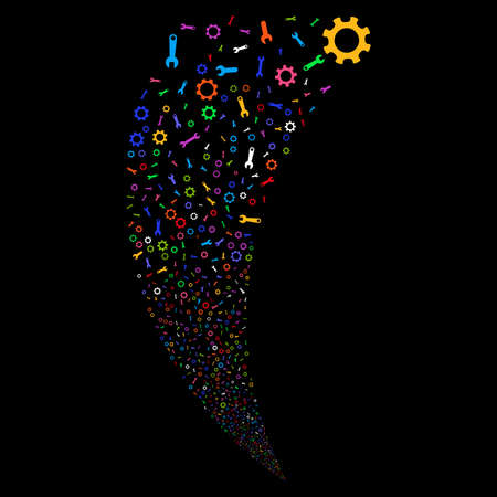 Setup Tools random fireworks stream. Vector illustration style is flat bright multicolored iconic symbols on a black background. Object fountain created from scattered pictograms. Ilustrace
