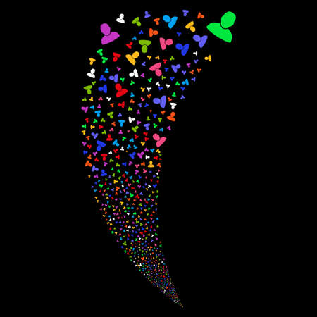 User random fireworks stream. Vector illustration style is flat bright multicolored iconic symbols on a black background. Object fountain combined from scattered pictograms.