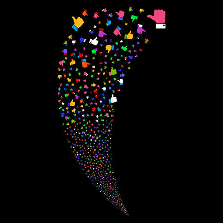 Thumb Up random fireworks stream. Vector illustration style is flat bright multicolored iconic symbols on a black background. Object fountain made from scattered pictograms.