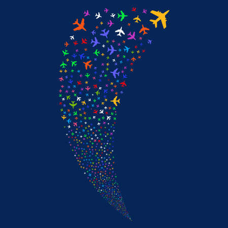 Jet Plane random fireworks stream. Raster illustration style is flat bright multicolored iconic symbols on a blue background. Object fountain combined from scattered icons. Stock Photo