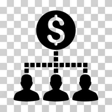 command structure: Money Recipients icon. Vector illustration style is flat iconic symbol, black color, transparent background. Designed for web and software interfaces.