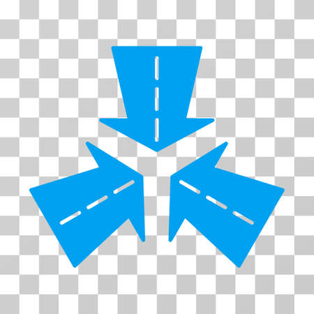 collide: Merge Directions icon. Vector illustration style is flat iconic symbol, blue color, transparent background. Designed for web and software interfaces.