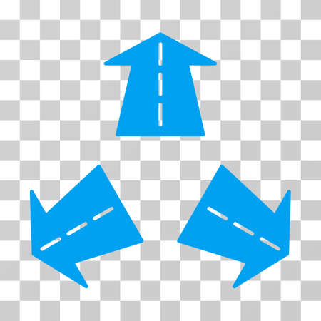Road Directions icon. Vector illustration style is flat iconic symbol, blue color, transparent background. Designed for web and software interfaces.