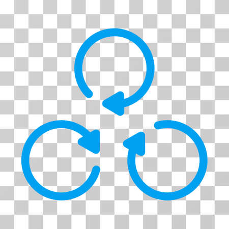 Rotation icon. Vector illustration style is flat iconic symbol, blue color, transparent background. Designed for web and software interfaces. Illustration