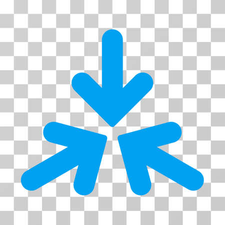 shrink: Triple Collide Arrows icon. Vector illustration style is flat iconic symbol, blue color, transparent background. Designed for web and software interfaces.