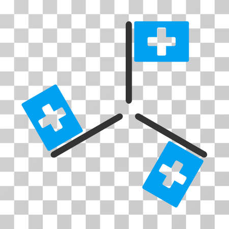 polyclinic: Hospital Flags icon. Vector illustration style is flat iconic bicolor symbol, blue and gray colors, transparent background. Designed for web and software interfaces.